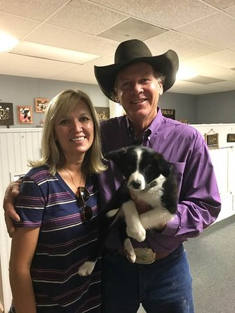 Parkfield, CA: John and Barb Varian with their dog Bessie