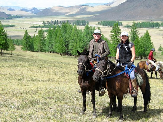 Ulaanbaatar, Mongolia: Forest and Cynthia on two of our best horses