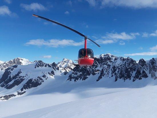 Seward, AK: Marathon Helicopters approaching a glacier.