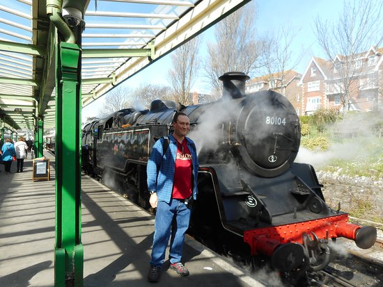 Swanage Railway: Me with No 80104 at Swanage.
