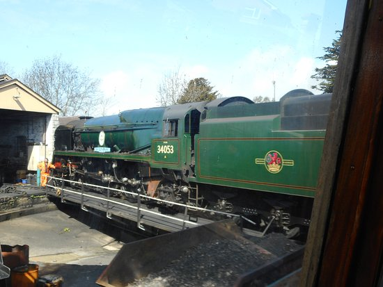 """Swanage Railway: SR Battle Of Britain Class No 34053 4-6-2 """"Sir Keith Park"""" at Swanage."""