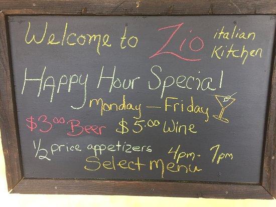 Zio Italian Kitchen Happy Hour Specials at 1 Danbury Rd, Wilton CT