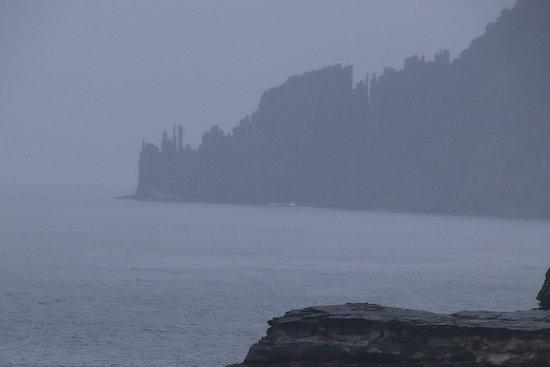 Cape Raoul in rain