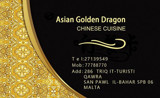 Business card picture of asian golden dragon qawra tripadvisor asian golden dragon business card colourmoves