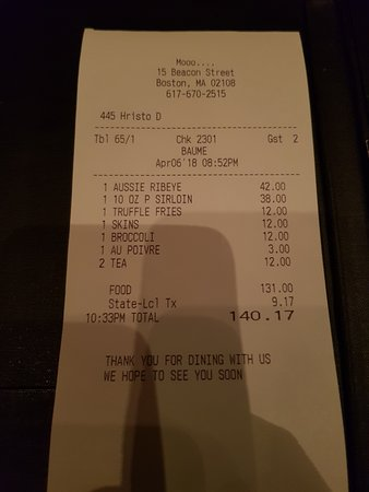 Mooo: 2 steaks and sides plus Tea - $140