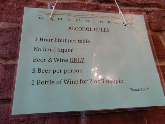 Canton Regio: BYOB rules posted on the wall.
