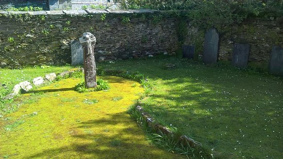 St Austell, UK: Ancient celtic cross in grounds of nunnery chapel at St Mawgan