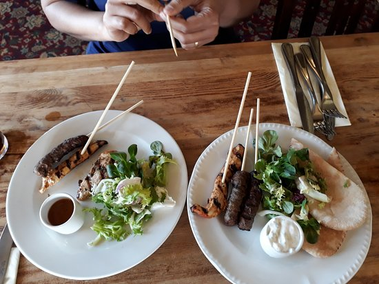 The Watermill: Small potion of lamb koftas and chicken katsu skewers