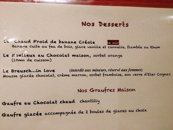 Breuschwickersheim, Francia: Carte des desserts