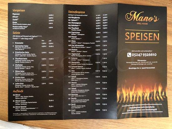Harsewinkel, Germany: Speisekarte Manos 2018 Vorderseite