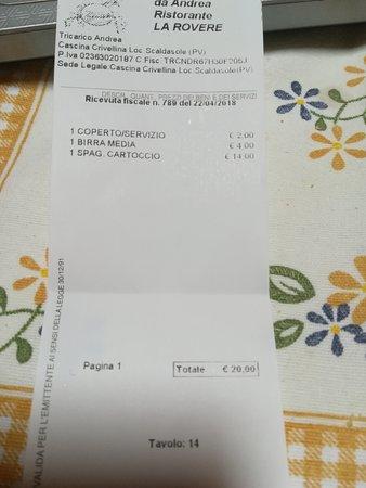 Scaldasole, Italia: 20 euro non meritati