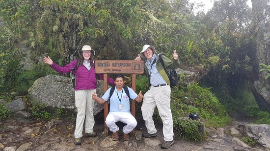 Aguas Calientes, Peru: finally we  reached the top of  waynapicchu mountain with our guide jose luis