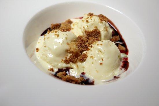 Allentown, NJ: LEMON SEMIFREDDO sage gel, brown butter crumble, marasca cherry