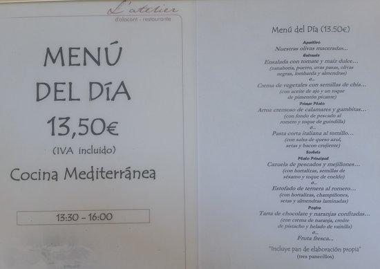 L'Atelier: Carta del menú de día