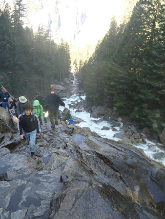 Mist Trail : Hiking boots are helpful on the slippery parts of the trial.