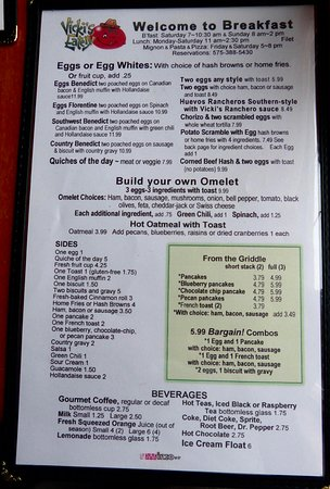 Vicki's Eatery: Breakfast menu