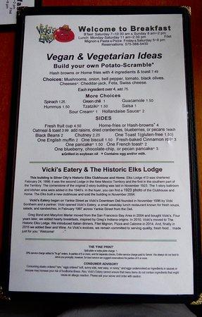Vicki's Eatery: Vegan menu
