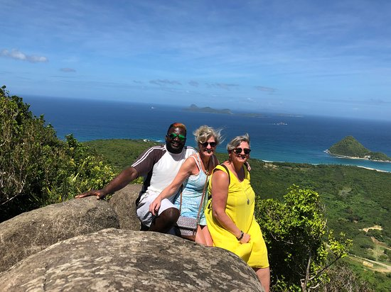 Lower Woburn, Grenada: The welcome stone one of the best views on the island