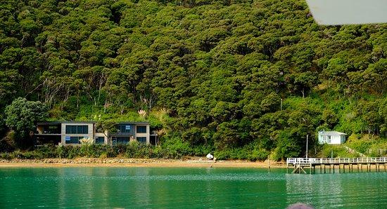 Warkworth, Selandia Baru: Typical bay (note the contrast in dwellings!)