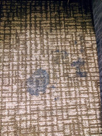 Comfort Suites: nasty sticky stain between beds - carpets dirty