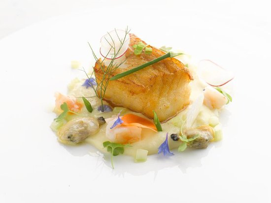 Pan Fried Cod with Creamy Bacalao and Fricassee of Seafood - Picture