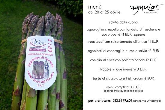 Verduno, Italie : menu dal20-25 aprile 2018