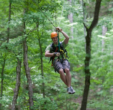 Historic Corydon & Harrison County, Indiana: Soar through the forest canopy,over ravines on Indiana's longest zipline at Squire Boone Caverns