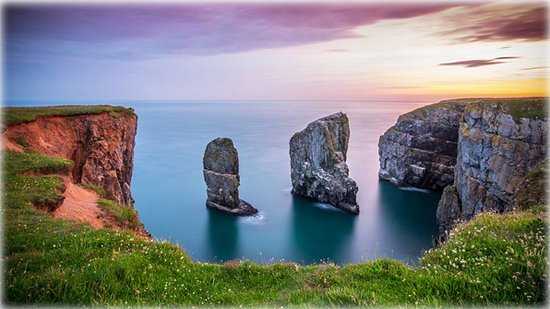 Stack Rocks at Castlemartin on the Pembrokeshire coastline, West Wales