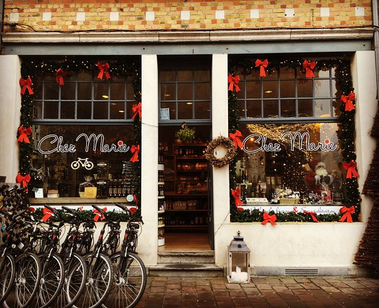 Ieper (Ypres), Belgium: Chez Marie shop with Christmas decoration