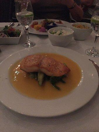 "Rozendaels Original Cuisine : Salmon drenched in a tropical ""naranja"" sauce"