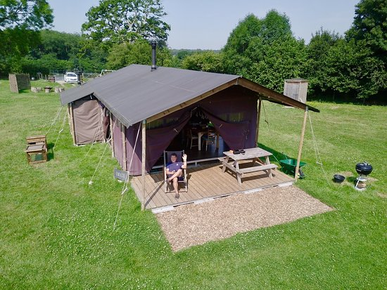 Sherfield English, UK: Aerial view of Glamping Tent