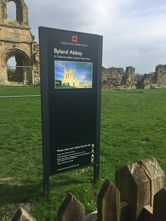 Coxwold, UK: Main entrance sign, could display more information, Museum opening hours??