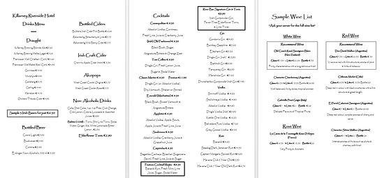 Riverside Hotel Killarney: Hotel Drinks Menu Pages 1-3