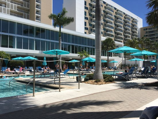 Marriott's Crystal Shores: 1 of 3 pools, with hotel rooms in background.