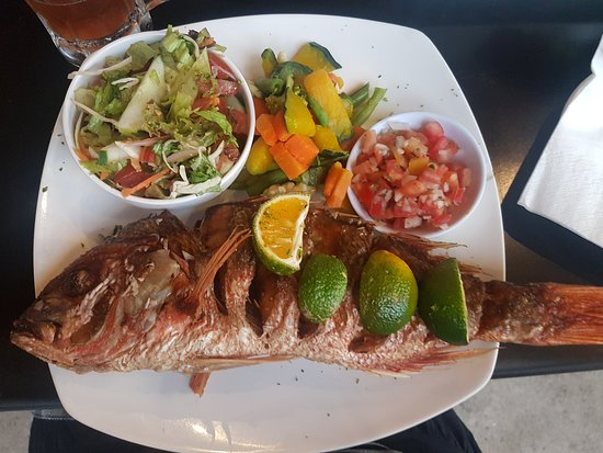Red Snapper, steamed veggies, salad and pico
