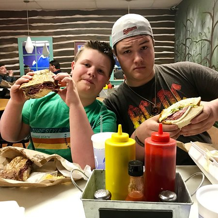 Sykesville, MD: Our teenaged sons were impressed with the excellent man-sized sandwiches at Big Belly Deli!