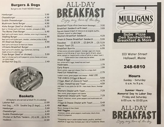 Hallowell, ME: Menu - Side 1