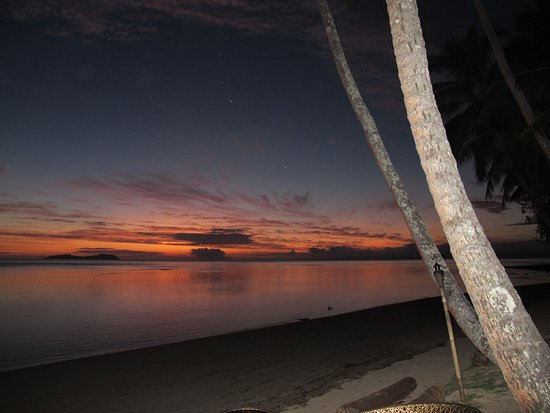 Beqa Island, Fiji: beach on sunset