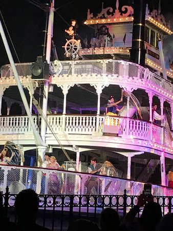 Hungry Bear Restaurant: Fantasmic HB Viewing--notice the railing if you sit to the front!
