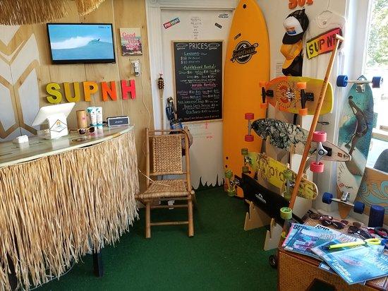 SUP-NH Paddleboard Rentals: Inside supnh paddleboard shop