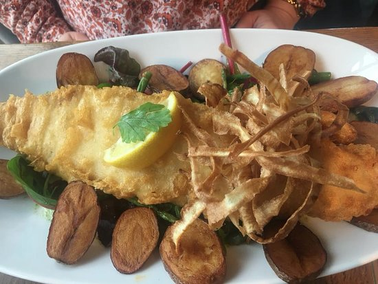Nottinghamshire, UK: battered fish with salad