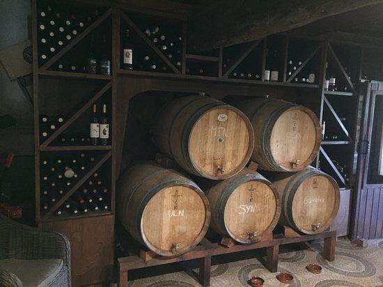 Figuerola de Orcau, Spagna: Toneles y botellas de la sala de vinos.