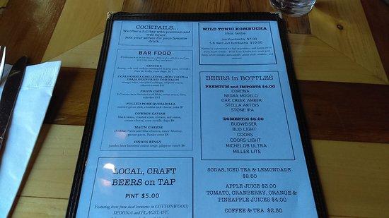 Cornville, AZ: Lunch menu, front