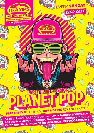 Tramps The King Of Clubs: Planet Pop Every Sunday in Tramps Tenerife