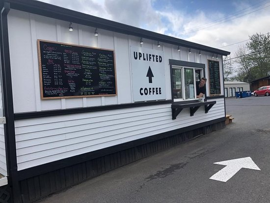 Bingen, WA: Our bright white coffee stand road side view so that our customers can easily find us!