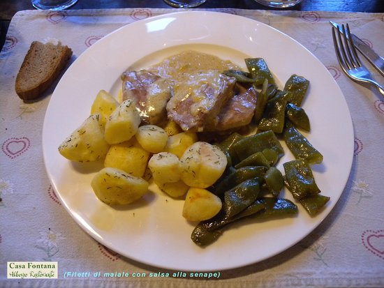 Alpe Devero, Itália: Filetti di maiale con crema alla senape.