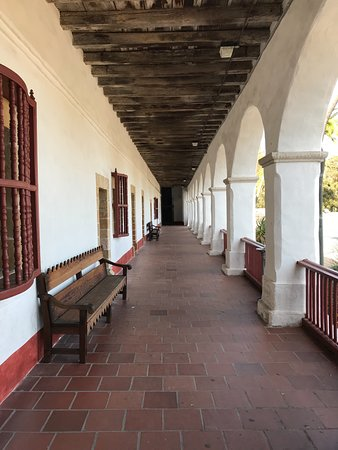 Mission San Diego de Alcala: front covered walkway