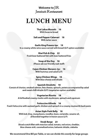 Pukekohe, New Zealand: JR Lunch Menu 2018