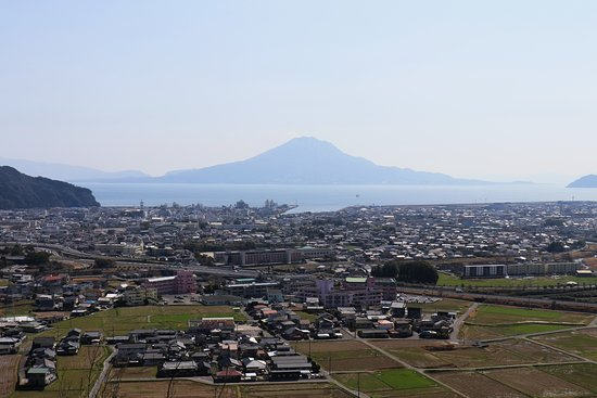 Aira, Japan: Kajiki-cho and Sakurajima from Takakura Observatory