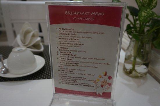 Calypso Premier Hotel: 朝食はこのメニューから選びます
